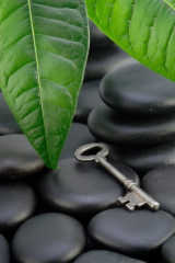 smooth black stones and metal key