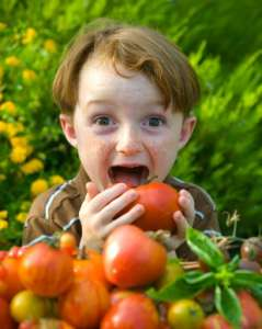 child holding a tomato